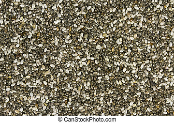 Raw Organic Chia Seeds - Top view of chia seeds. Can be used...
