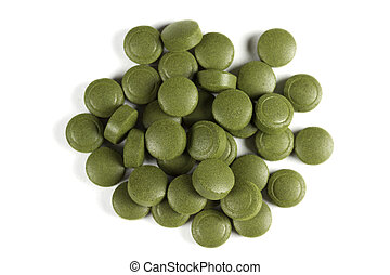 Chlorella tablets - A pile of Chlorella pills Can be used as...