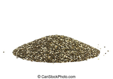 Raw Organic Chia Seeds - Side view of a pile with chia...