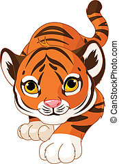 Crouching baby tiger - Illustration of crouching baby tiger...