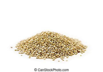 Organic Quinoa - A pile of quinoa seeds on white background.