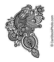 black line art ornate flower design, ukrainian ethnic style