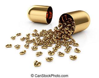 Golden pills - 3d illustration of golden pills laid out as a...