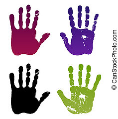 Old man four hand prints - lllustration old man four hand...