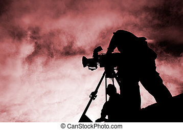 cameraman with silhouette - Here was a cameraman stand with...
