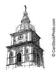 digital drawing of ukrainian church, engraving style. Kiev, Mihaylovskiy monastery