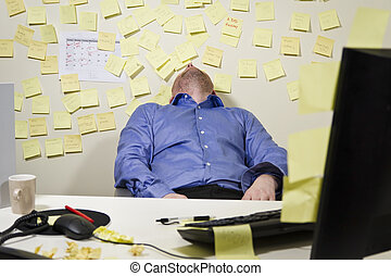 Exhausted Businessman - A exhausted tired business man with...