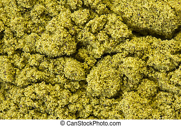 Raw Hemp Protein - Top view of organic raw hemp protein...