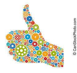 Thumbs Up Symbol, Which is Composed of Colour Gears. Vector illustration