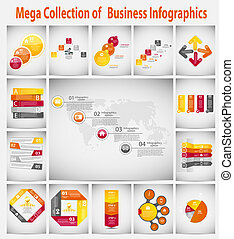 Mega collection infographic template business concept vector...