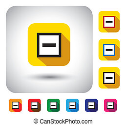 minus mark sign on button - flat design vector icon This...