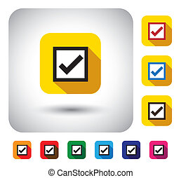 tick mark sign on button - flat design vector icon This long...