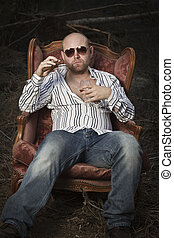 Sleazy Man in a Vintage Chair - Sleazy man in a classic...