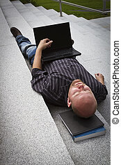 Sleeping Businessman - A sleeping resting exhausted man...