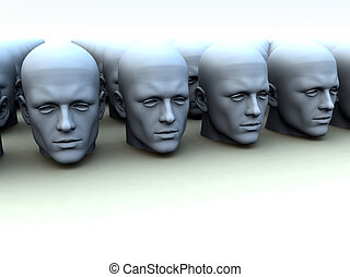 Identical Heads - Conceptual image about conforming...