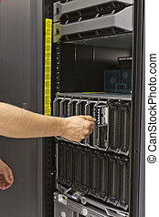 Installing Blade Server - IT technician consulant insert...
