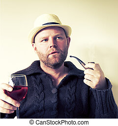 Man with Pipe and Wine - A man with pipe and wine