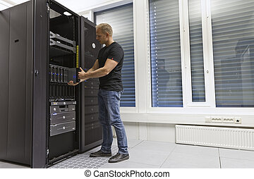 IT Engineer Installing Blade Server - It engineer consultant...
