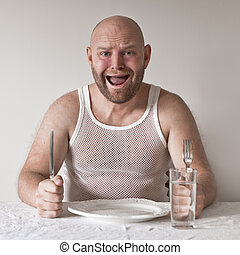 Wierd and Hungry Man - Strange and hungry man with no food...