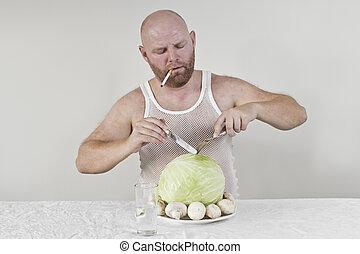 Smoking man eat cabbage and mushrooms - Wierd man eat...
