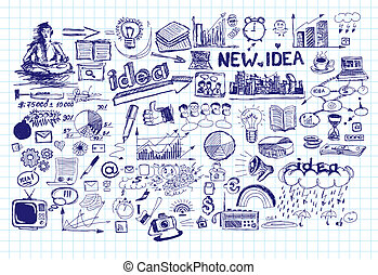 Idea Sketch Background With Pen Drawn Elements - Vector idea...
