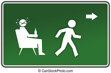 warning sign - emergency exit sign with drunk figure and...