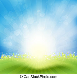 Spring Background With Sky, Sun Rays And Butterflies