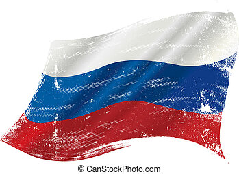 Russian grunge flag - flag of Russia in the wind with a...