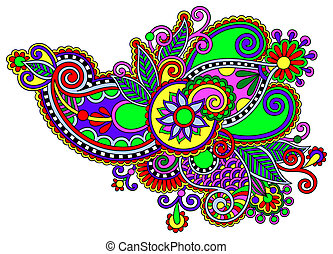 original digital draw line art ornate flower design....