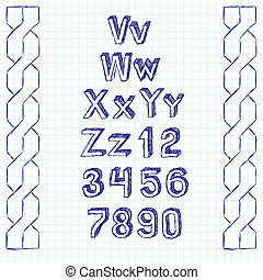 Vector Sketch Book Letters - Vector set of sketchbook...