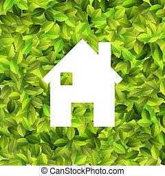 White house on Leaf background. + EPS10