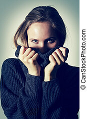 Young Girl in Turtleneck Sweater
