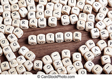 Letter dices word - author - Text concept macro: Letter...