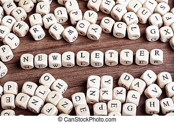 Letter dices word - newsletter - Text concept macro: Letter...