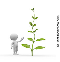 Plant - 3d people - man, person with plant