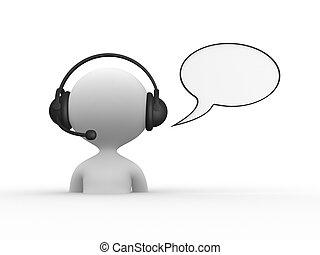 Headphones with Microphone - 3d people - men, person with...