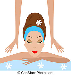 young woman do massage, vector illustration