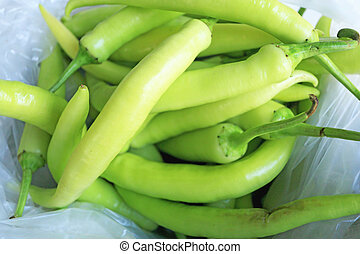 green pepper at the market