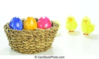 Easter nest with chicks - Easter nest with painted eggs and...