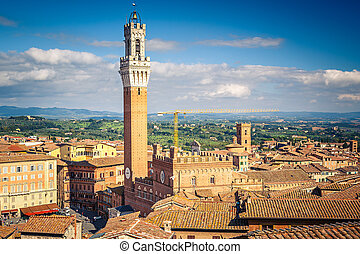 Aerial view over Siena: Mangia tower