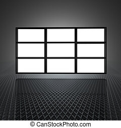 video wall with 9 blank screens - video wall with blank...