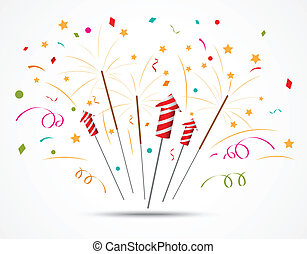 Firecracker with fireworks popping - Vector Illustration of...