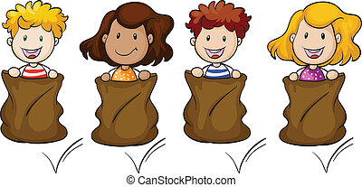 Four kids jumping inside the sack - Illustration of the four...