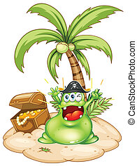 A happy green monster in an island with a treasure box -...
