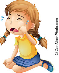 A little girl crying - Illustration of a little girl crying...