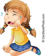 Um, pequeno, menina, chorando