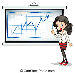 A beautiful businesswoman reporting - Illustration of a...