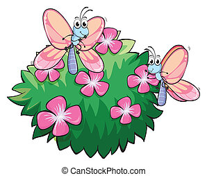 Two butterflies near the plant with pink flowers