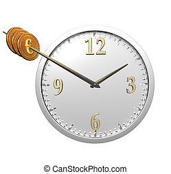 wall clock with coins isolated on white