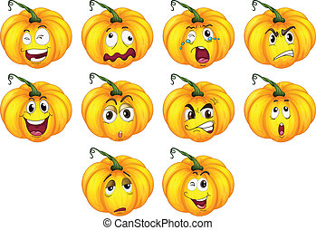 Ten pumpkins with different emotions - Illustration of the...